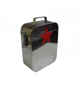 Munitionskiste (Edelstahl mit rotem Stern)